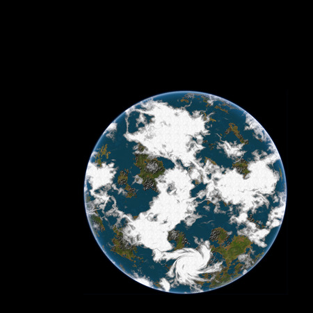 Blue planet on the black background