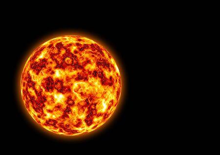 Burning planet isolated on the black background
