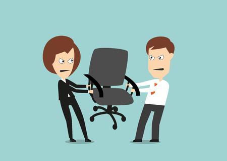 conflicto: Colegas de negocios Angry lucha por la silla, que compiten por la carrera o el liderazgo. Estilo plano de dibujos animados