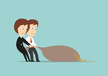 Businessman and business woman drags money bag and losing coins that running out from a hole. Cartoon flat style