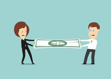 tug war: Businessman and business woman fights over for money, pulling the dollar bill to opposite sides, for business competition design. Cartoon flat style