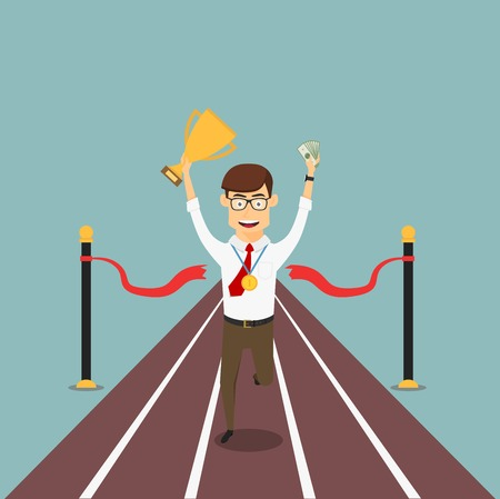 Happy businessman crosses finish line with trophy cup, gold medal and money, for business competition or success themes design