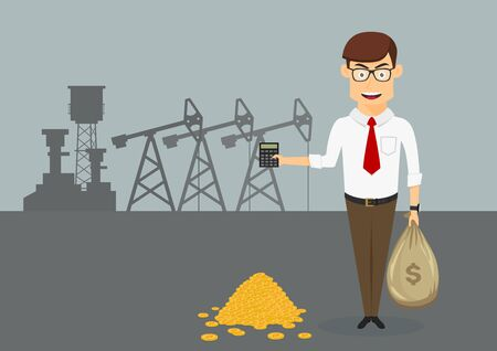 Successful businessman standing near pile of gold coins and holding money bag and calculator in hands with oil pumps on the background, for oil and gas industry themes design