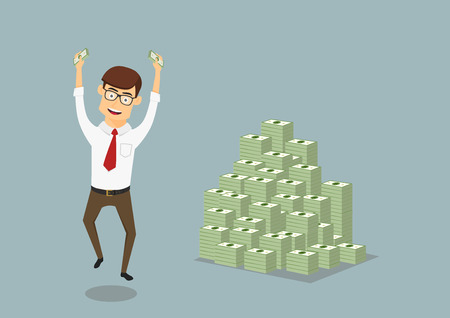 wealth concept: Joyful smiling businessman with money in hands happy jumping near a huge pile of dollar packs, for wealth or success themes design. Cartoon flat style