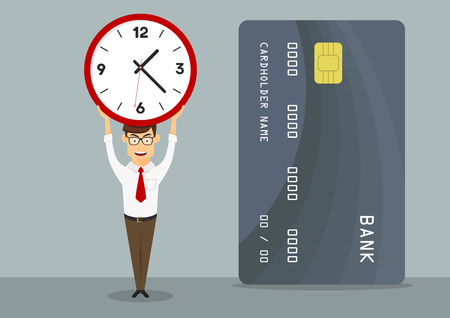 cartoon clock: Banking manager with credit card holds clock above head, showing short period of time of credit or loan approval, for finance themes design. Cartoon flat style