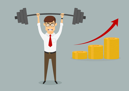 Confident successful businessman lifting dumbbell above head with increasing bar graph of golden coins, for goal achievement or success themes design