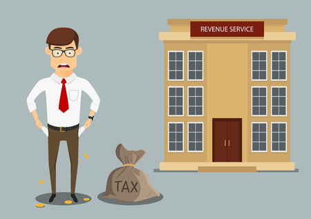 penniless: Sad penniless businessman showing empty pockets after paying taxes, for debts or bankruptcy themes design. Cartoon flat style