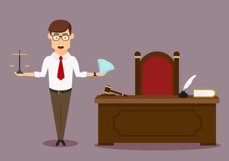 생각에 잠겨있는: Pensive male judge makes decision, choosing between wealth and justice with diamond and scales in hands. Cartoon flat style