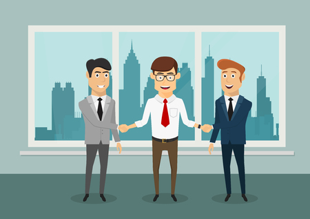 closing: Cheerful smiling businessmen shaking hands after signing a profitable contract or closing a deal, for partnership themes design