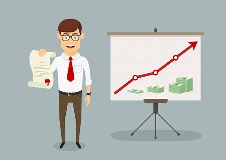 incremento: Feliz joven empresario recibió el diploma o certificado para aumentar con éxito de ventas, para el diseño de temas de presentación. estilo plano de dibujos animados