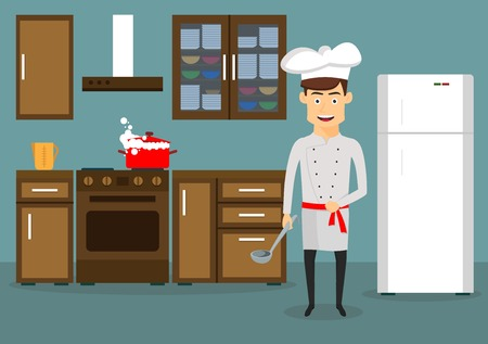 Smiling young man in chef hat and tunic cooking in kitchen at home. Cartoon flat style