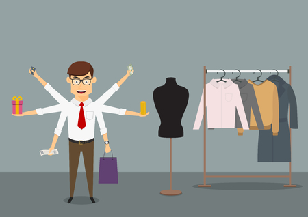 Businessman with many hands shopping in clothes store and holds bank credit card, money banknotes, stack of coins, gift box, paper shopping bag and receipt. Cartoon flat style