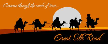 Great silk road, camel caravan with trade goods in desert steppe. Vector poster of ancient Eastern Asia and Oriental trade route, East traders journey on camels in desert sands Vector Illustration