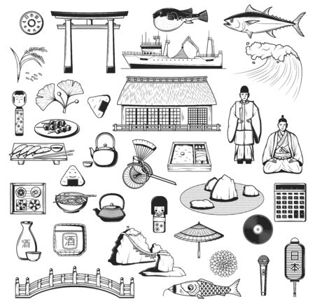 Japanese vector icons with culture, travel and food symbols of Japan. Pagoda, fish and lantern sketches, sake, sushi and umbrella, tea ceremony, torii gate and rice, bridge, wave, carp and samurai