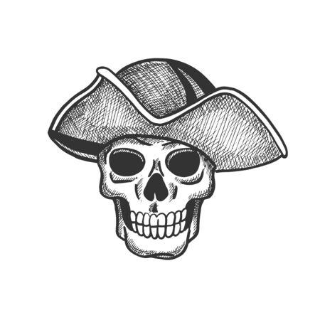 Crâne de croquis isolé de pirate pour la conception de thèmes de tatouage ou d'Halloween. Squelette effrayant avec chapeau vintage de capitaine de mer pour le drapeau de la piraterie et la conception de symboles jolly roger Vecteurs
