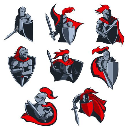 Icônes vectorielles de chevaliers de guerriers médiévaux avec casques d'armure, épées et boucliers, capes rouges et panaches. Mascotte ou emblème de l'équipe sportive, conception d'armoiries héraldiques avec des soldats et des armes
