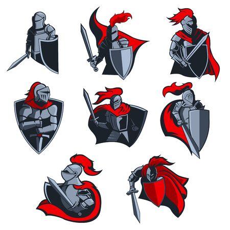 Iconos vectoriales de caballero de guerreros medievales con cascos de armadura, espadas y escudos, capas rojas y plumas. Mascota o emblema del equipo deportivo, diseño de escudo heráldico con soldados y armas