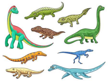 Dinosaur monster animal icons of cartoon dino reptiles. Prehistoric brachiosaurus, mesosaurus, erythrosuchus and eoraptor, ichthyostega, omeisaurus and ambulocetus, sarcosuchus and pliosauroidea Banque d'images - 140257908