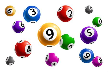 Balls with numbers of bingo lottery, lotto and keno gambling games 3d vector design of gaming sport, game of chance and casino leisure. Realistic spheres with jackpot winning numbers combination