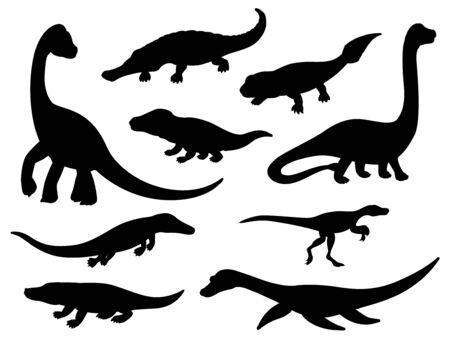 Dinosaur black silhouettes of jurassic extinct animals. Vector prehistoric dino reptiles and crocodile monsters of mesosaurus, eoraptor, ichthyostega and brachiosaurus, erythrosuchus and sarcosuchus