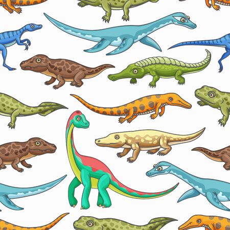 Dinosaurs seamless pattern of cartoon jurassic animals vector background. Prehistoric dino monsters and reptiles backdrop with brachiosaurus, mesosaurus and brontosaurus, eoraptor and pliosaurs Ilustração