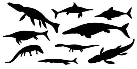Sea dinosaur black silhouettes of vector jurassic animals or monsters. Prehistoric marine dinosaurs and rwptiles, ichthyosaurus, liopleurodon, kronosaurus and plesiosaur, tylosaurus and sauropterygia