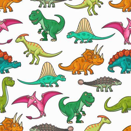 Dinosaur jurassic animals seamless pattern. Vector background with tyrannosaurus, pterodactyl, brontosaurus and spinosaurus, stegosaurus, diplodocus, triceratops and pteranodon prehistoric monsters