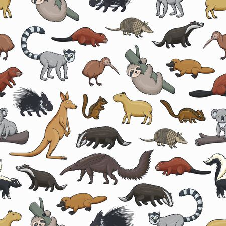Wild animals vector seamless pattern of zoo or hunting mammals and bird. Animal background of kangaroo, platypus, kiwi and koala bear on branch, badger, beaver, lemur and porcupine, capybara, skunk