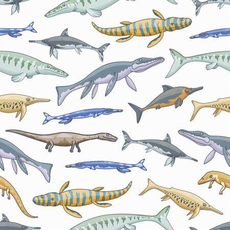 Sea dinosaur animals vector seamless pattern of jurassic dino reptiles ansd monsters background. Marine predatory mosasaur, liopleurodon, ichthyosaurus and plesiosaur, tylosaurus and kronosaurus