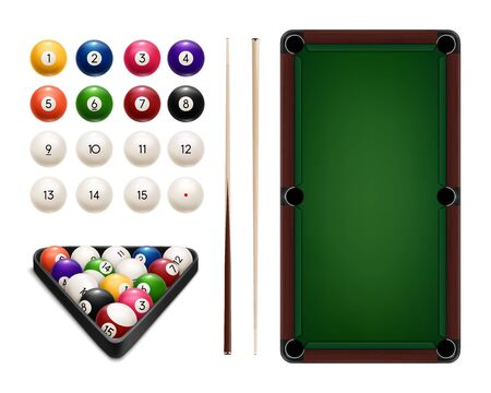 Billiard sport game balls, table, cues and rack realistic vector design of pool and snooker equipment. Pyramid of colorful balls, wooden cue sticks and triangle frame, green table with pockets