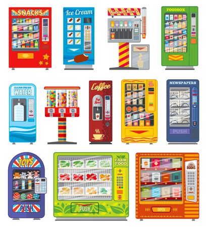 Vending machine vector design of snack food, soda and coffee drink automatic selling. Candy, water and juice dispensers, soft beverage bottles and cans, sandwiches, chocolate, ice cream and newspaper