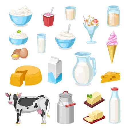 Milk products, vector icons of dairy farm food. Cheese, butter, yogurt glass bottle and cream jug, cow, bowls of cottage cheese, sour cream and ice cream, milkshake, eggs, fermented milk and margarine 矢量图像