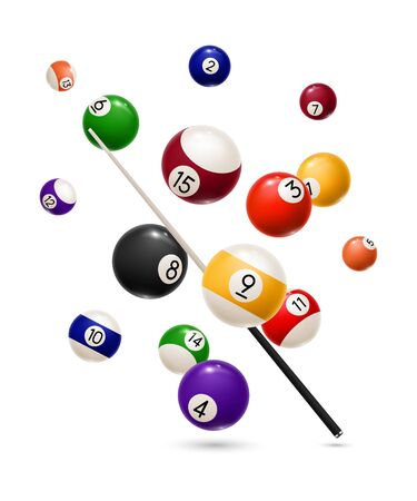 Billiard balls and cue realistic design of sport game. Vector snooker or pool billiard equipment of colorful balls with numbers and wooden cue stick, competition, leisure activity and gambling game