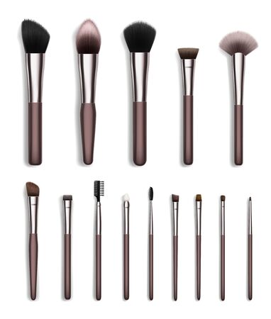 Cosmetic makeup brush realistic set of face and eye beauty tools vector design. Powder, eyeshadow and blush, bronzer, concealer and foundation brushes, brow and lash combs, fan, flat and angled liners
