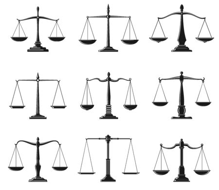 Scales of justice symbols of law balance vector design. Isolated icons of Lady Justice equal balance scales, weight measure instrument of law and order and legal protection themes Vettoriali