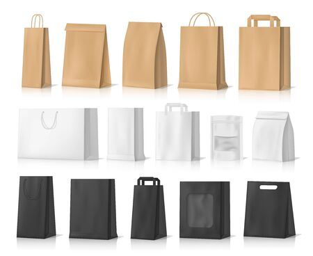 Paper bag mockups of shopping, gifts and food packages realistic vector design.