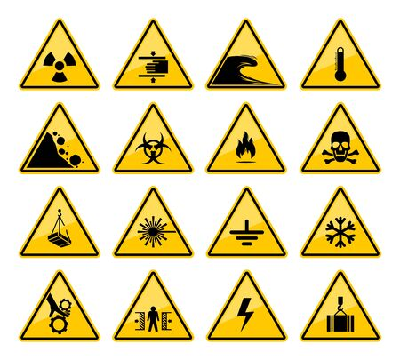 Hazard warning sign vector icons of danger caution and safety attention. Vettoriali