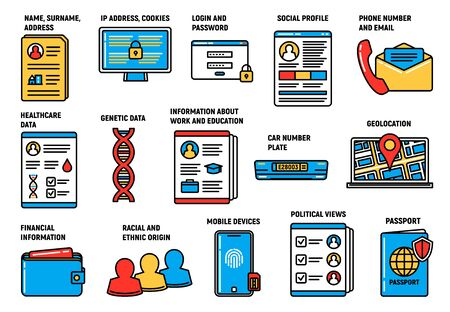 GDPR personal data protection and security, vector icons. GDPR General Data Protection Regulation on information database access, digital security, legal or financial personal data confidential policy