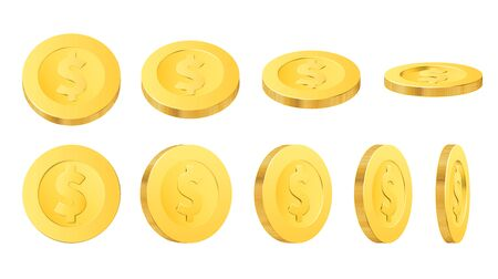 Golden dollar coins, isolated realistic gold money, currency or cash vector design.