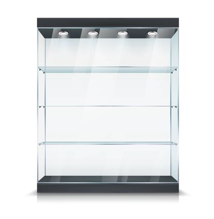 Glass showcase stand with shelves and light lamps, vector realistic 3D mockup object. Product display or glass showcase cabinet with lighting, exhibition, gallery and boutique retail equipment