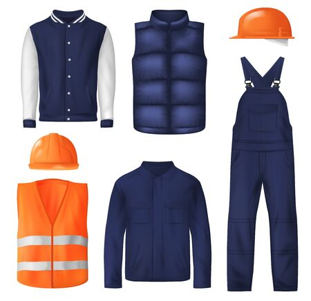 Work and sports wear vector design of men clothes. Worker uniform jacket, orange safety helmets or hard hats, high visibility vest with reflective strips, bib overall, sport vest and bomber jacket