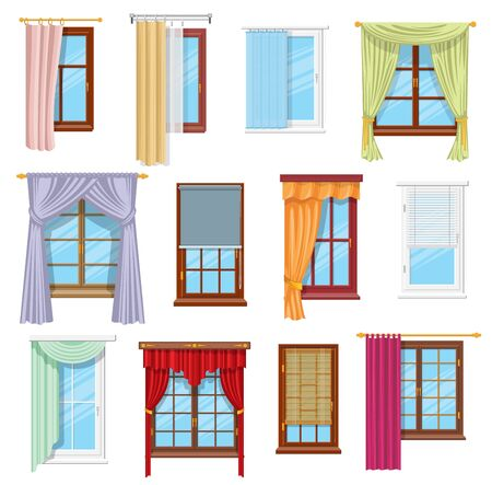 Window curtains, draperies, roller blinds and shades, vector home interior and window treatments design. Flat panel, tab top and sash curtains with rods and valances, vertical, venetian, roman blinds