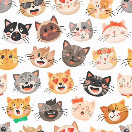 Cute cats vector seamless pattern, kitten muzzles with bows, flower wreath and neck ties on white background. Cartoon animal faces, kids design for fabric or wrapping paper. Funny cats pattern