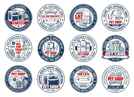 Cats care isolated vector icons. Pet shop accessories and supplies, goods for animals round signs. Food, carrier bag, toys, collars and bowls, grooming and health care for cats, zoo store stuff set Vettoriali