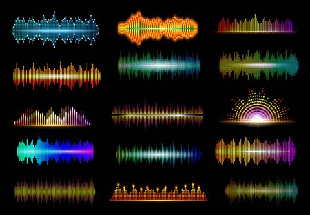 Neon sound waves of music digital equalizer vector design of audio technology. Music wave abstract patterns of audio spectrum with bright light bars of beat pulse and volume lines, musical waveforms  イラスト・ベクター素材