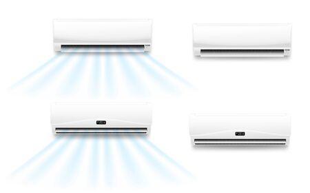 Mockup vettoriali di condizionatori d'aria con flusso di vento freddo o caldo. Unità interne realistiche del sistema di condizionamento dell'aria split con alette orizzontali aperte e pannelli di visualizzazione, controllo del clima per la casa o l'ufficio Vettoriali