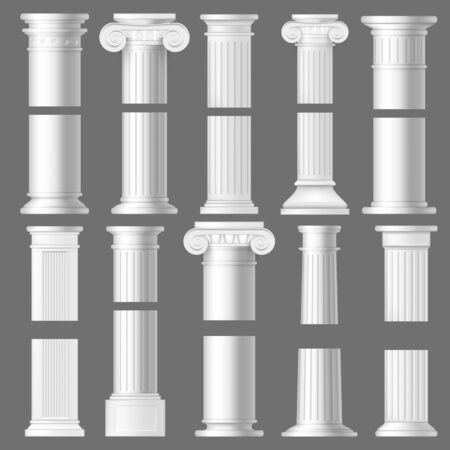 Column pillar realistic mockups of antique Roman and Greek architecture. 3d vector white marble stone Doric and Ionic columns with vertical fluted shafts, bases and ornate capitals with volutes Иллюстрация