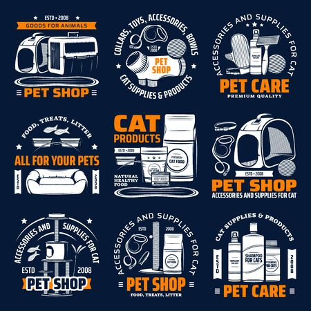 Pet shop supplies for cat animal care isolated vector icons. Cat food, toy and bed, grooming accessory, brush, carrier and house, scratching post, feeding bowl, litter, harness and leash symbols