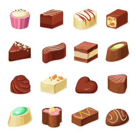 Chocolate candy and sweets vector design of dessert food. Candy and truffle set with dark, milk and white chocolate coating, filled with nut praline, caramel, cocoa cream, nougat and coffee mousse
