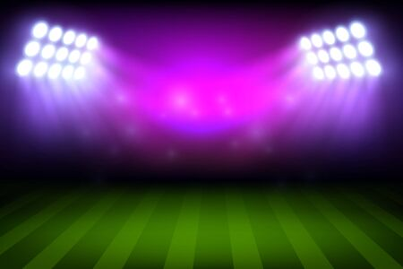 Soccer or football sport stadium field with lights, realistic vector background. Empty green grass playground or play field of sporting arena with lighting masts and spotlights, championship design Vetores